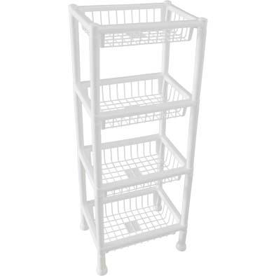 Organizador plástico de 4 estantes 38x26x79
