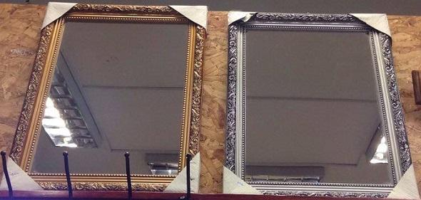 Espejo marco madera plata y dorado con arabescos 30x40cm for Espejos con marco color plata